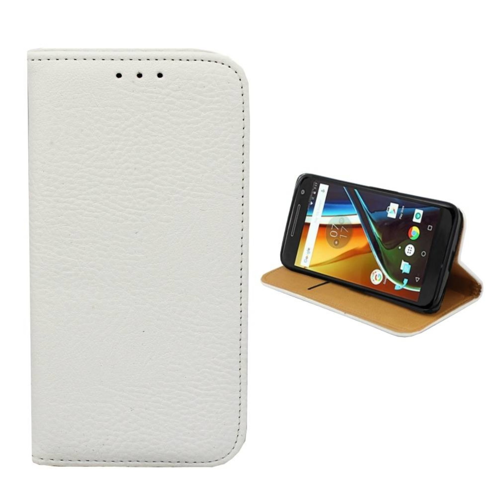 Colorfone Hoesje Book voor Motorola Moto G4/Plus Wit