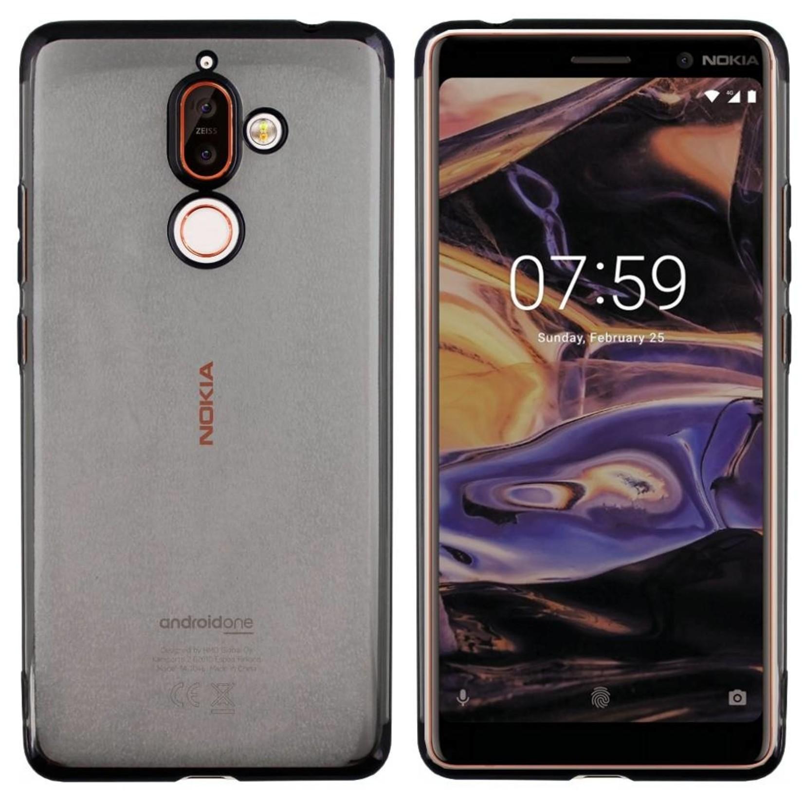 Colorfone Hoesje CoolSkin Bumper Clear voor Nokia 7 Plus Zwart