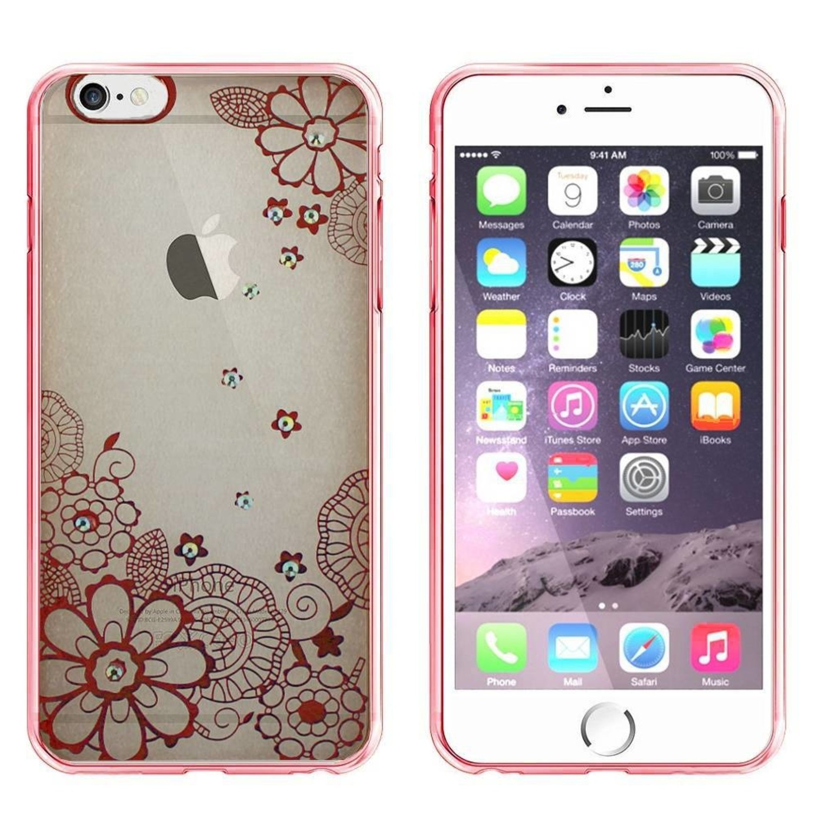 Colorfone Hoesje CoolSkin Bumper Clear Apple iPhone 5/5S/SE Flower Rosé Goud