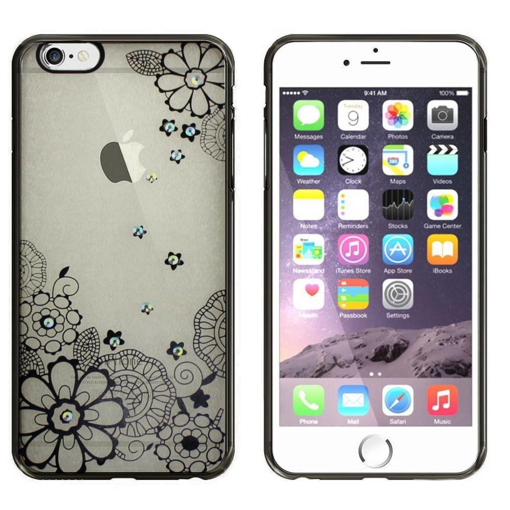 Colorfone Hoesje CoolSkin Bumper Clear Apple iPhone 6 Plus/6S Plus Flower Zwart