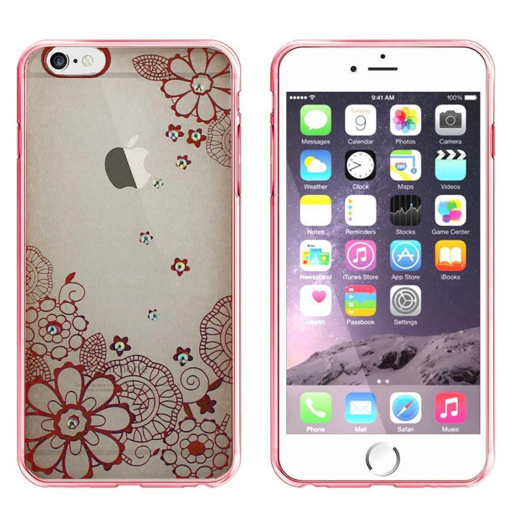 Colorfone Hoesje CoolSkin Bumper Clear Apple iPhone 6 Plus/6S Plus Flower Rosé Goud