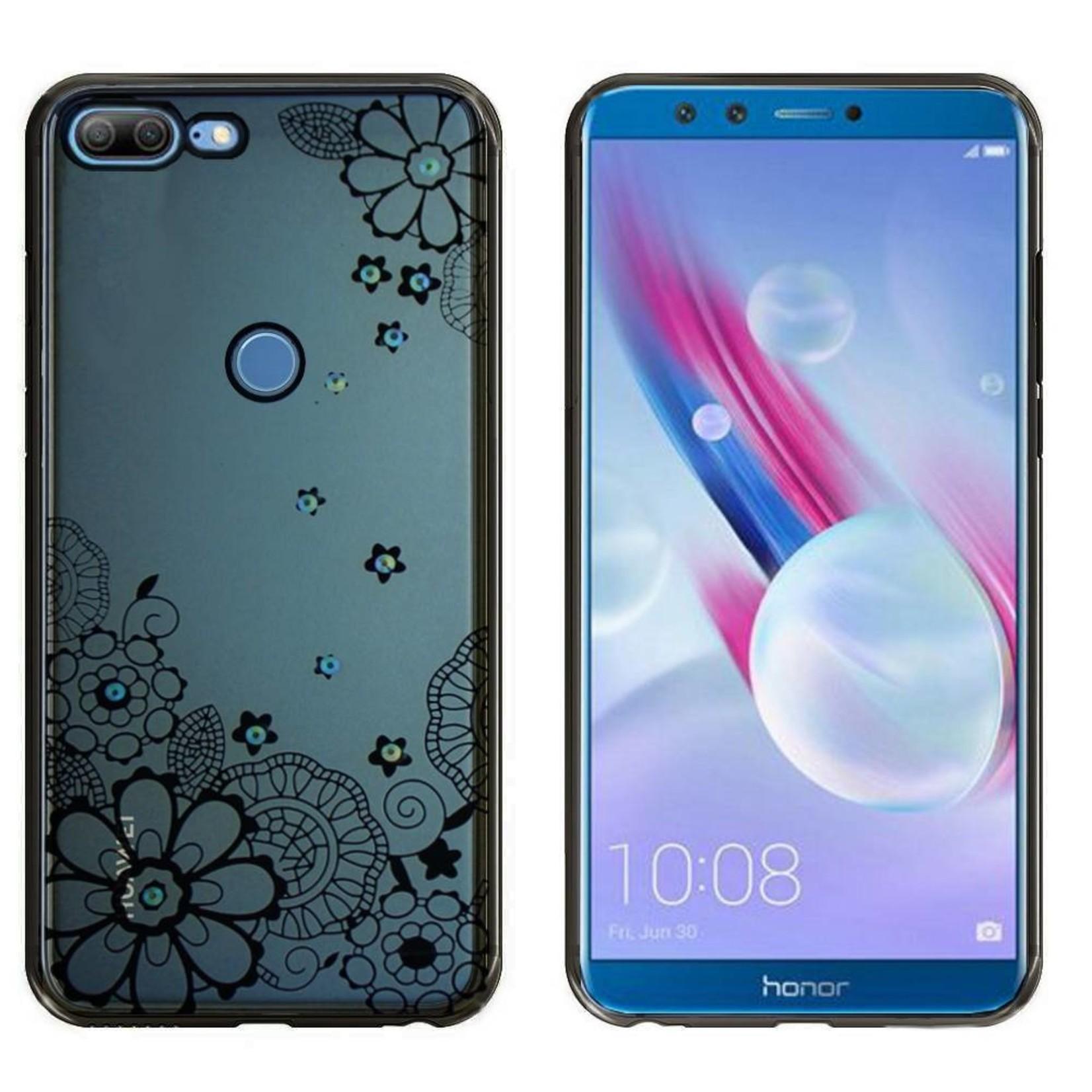 Colorfone Hoesje CoolSkin Bumper Clear Huawei Honor 9 Lite Flower Zwart