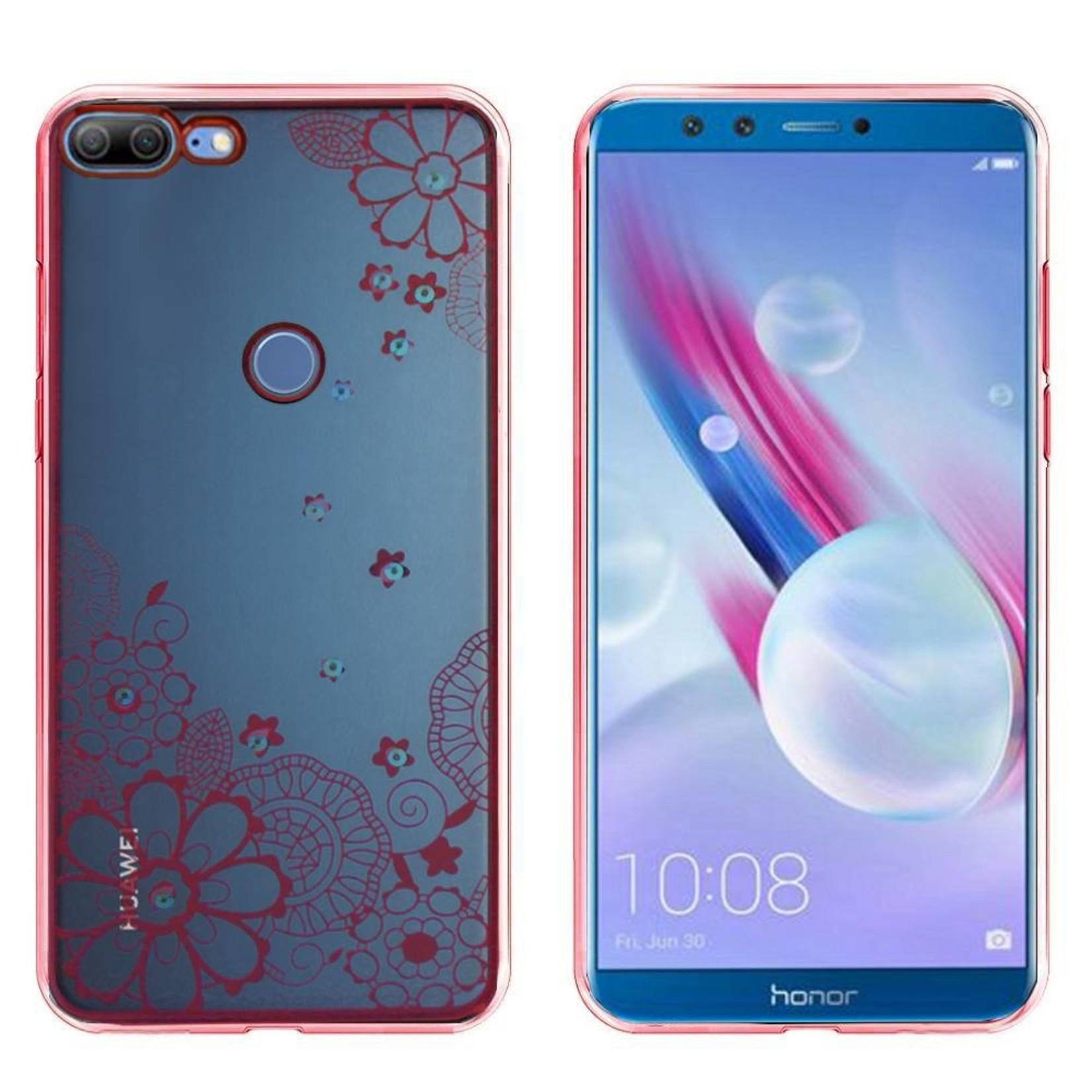Colorfone Hoesje CoolSkin Bumper Clear Huawei Honor 9 Lite Flower Rosé Goud