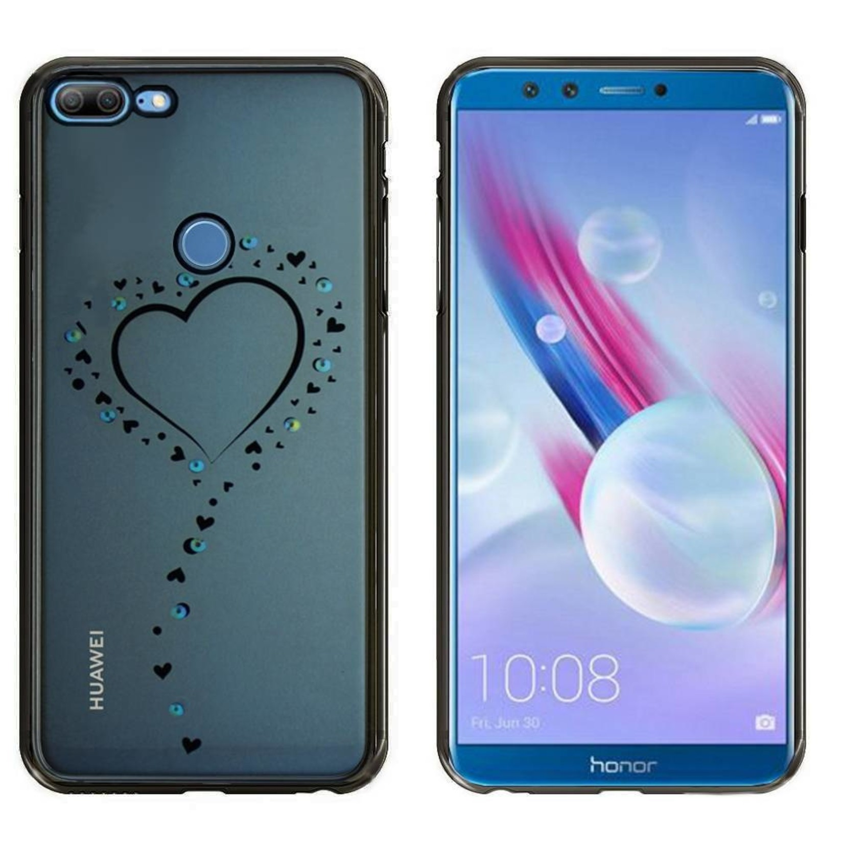 Colorfone Hoesje CoolSkin Bumper Clear Huawei Honor 9 Lite Hart Zwart