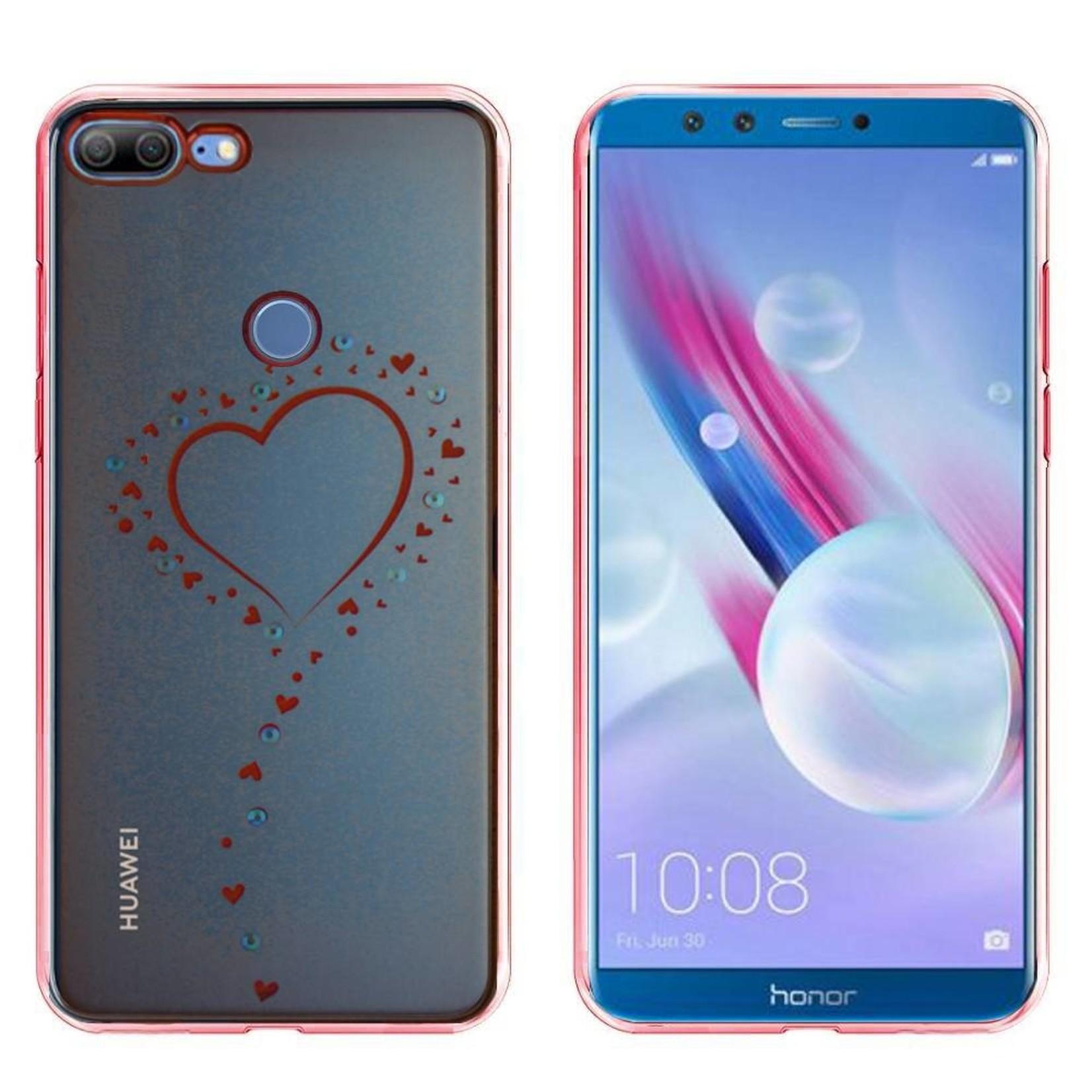 Colorfone Hoesje CoolSkin Bumper Clear Huawei Honor 9 Lite Hart Rosé Goud