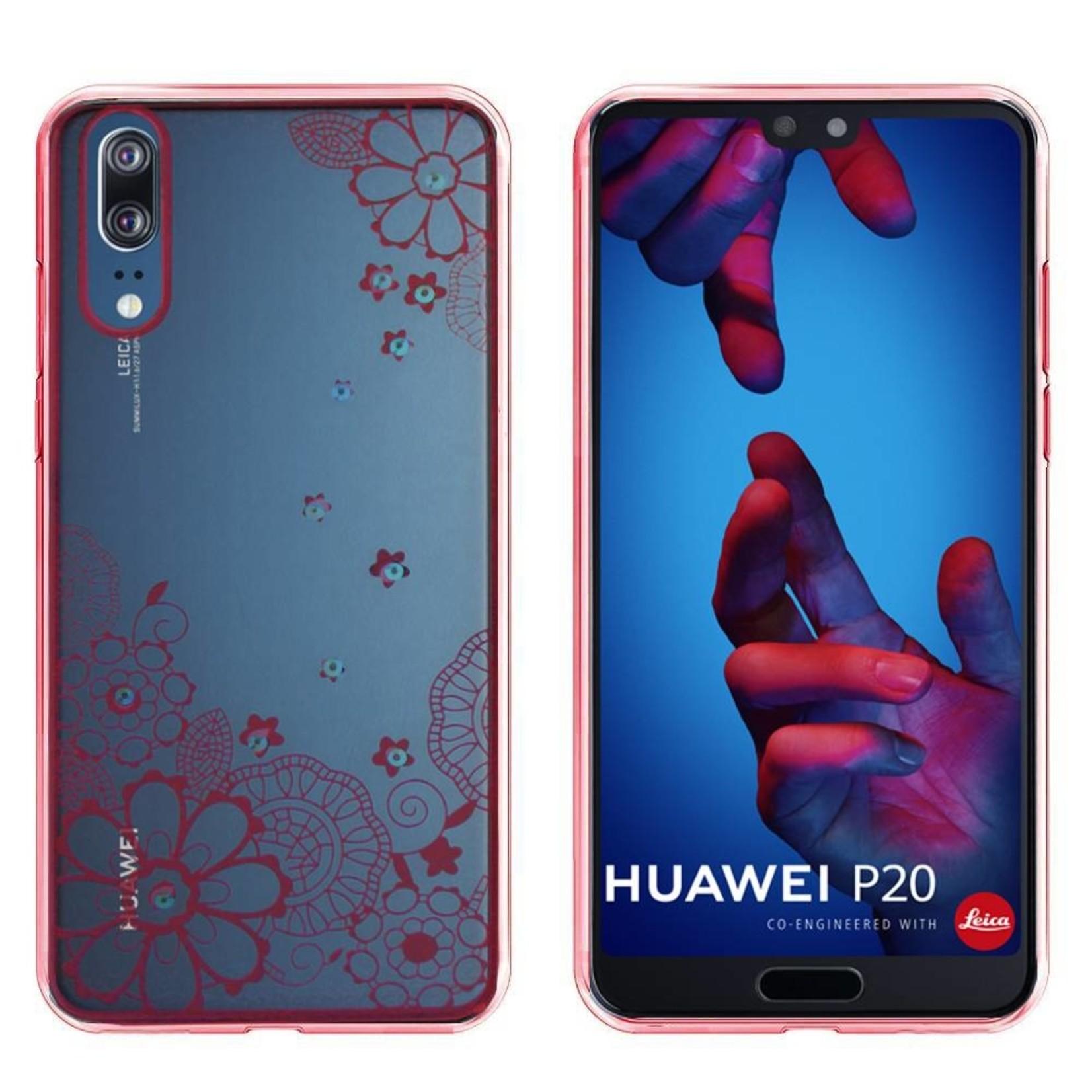 Colorfone Hoesje CoolSkin Bumper Clear Huawei P20 Flower Rosé Goud