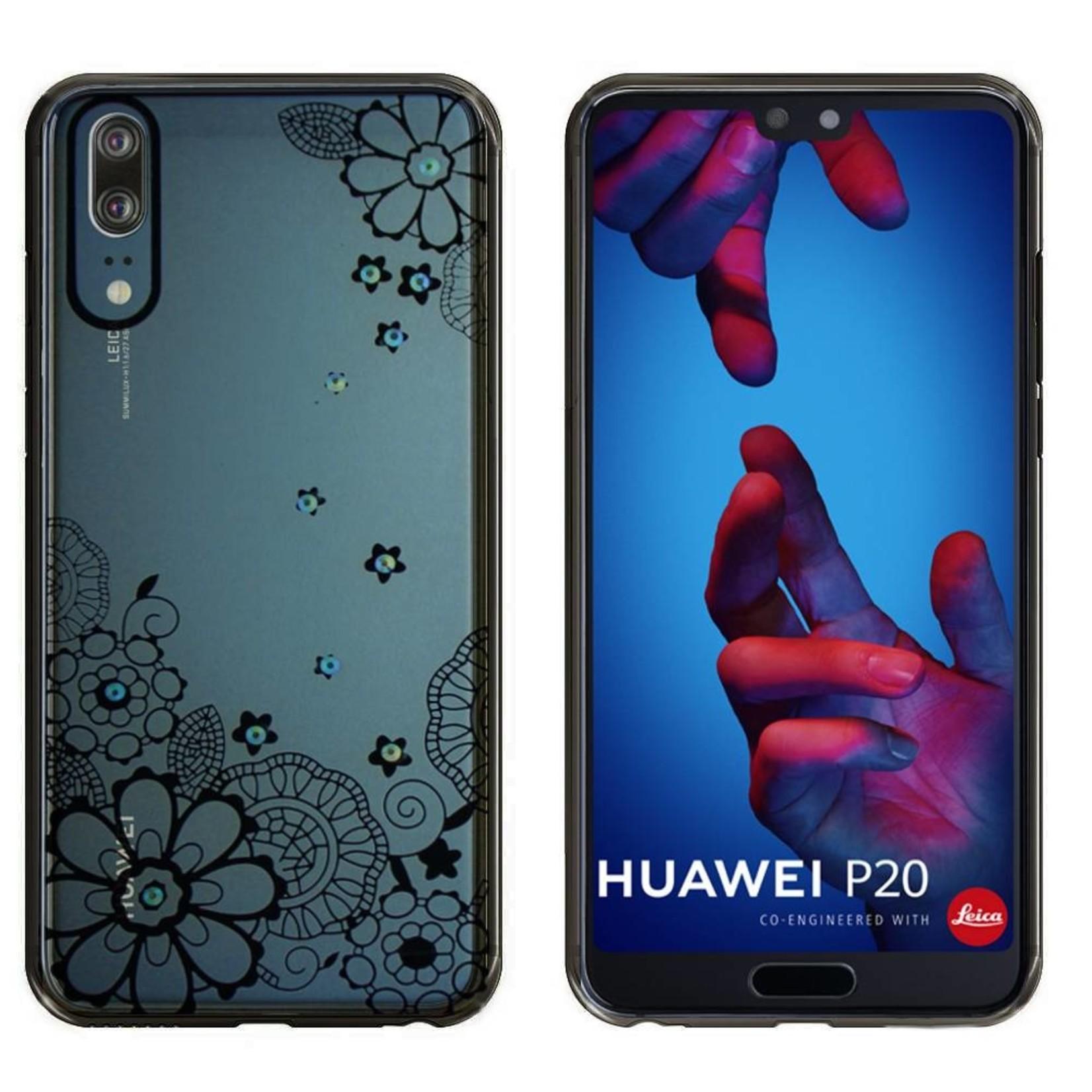 Colorfone Hoesje CoolSkin Bumper Clear Huawei P20 Pro Flower Zwart
