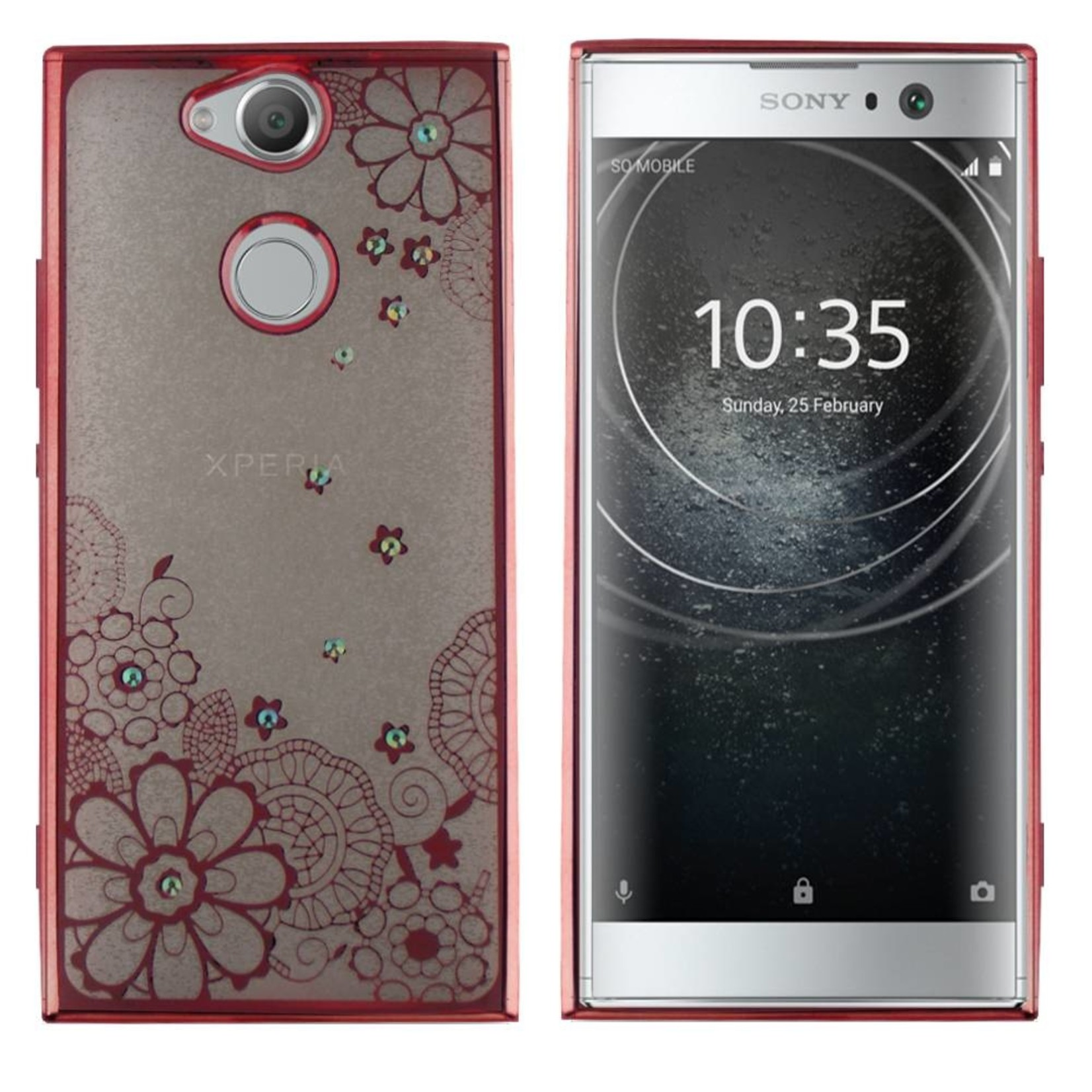 Colorfone Hoesje CoolSkin Bumper Clear Sony XA2 Flower Rosé Goud