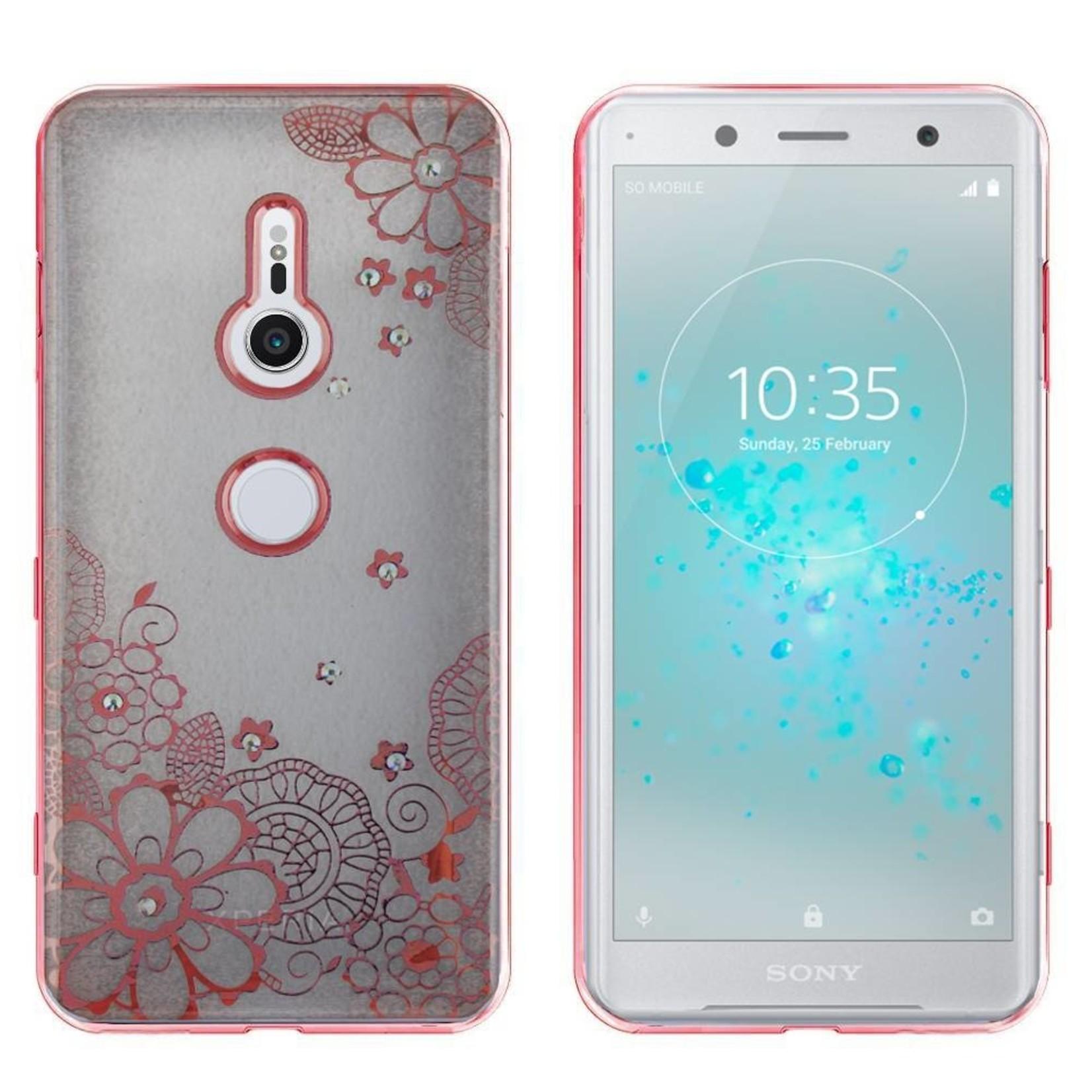Colorfone Hoesje CoolSkin Bumper Clear Sony XZ2 Flower Rosé Goud