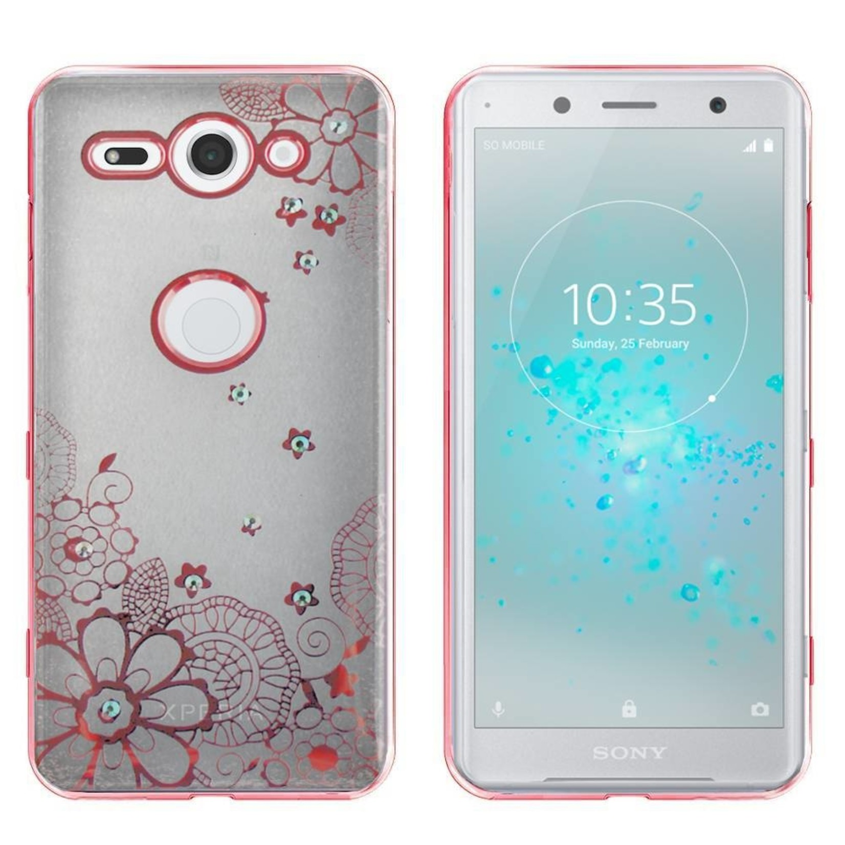 Colorfone Hoesje CoolSkin Bumper Clear Sony XZ2 Compact Flower Rosé Goud