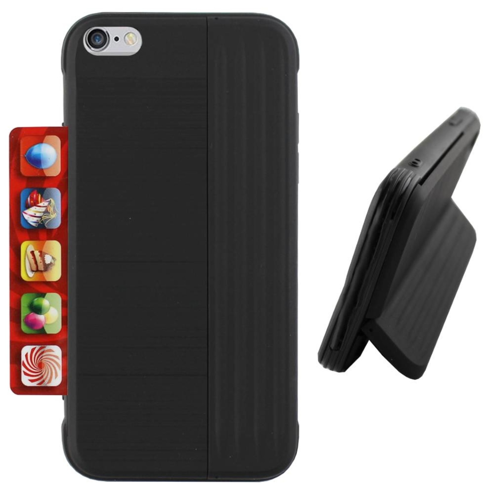 Colorfone Hoesje Card Stand Apple iPhone 8/7 Zwart