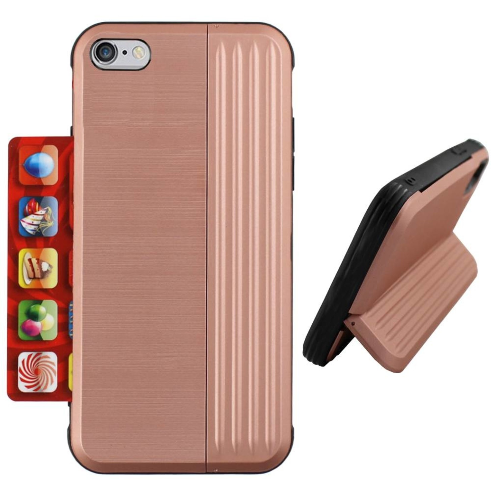 Colorfone Hoesje Card Stand Apple iPhone 8 Plus/7 Plus Rose Goud