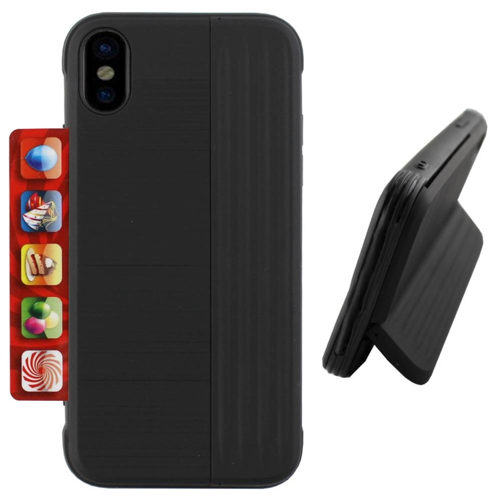 Colorfone Hoesje Card Stand Apple iPhone Xs Max Zwart