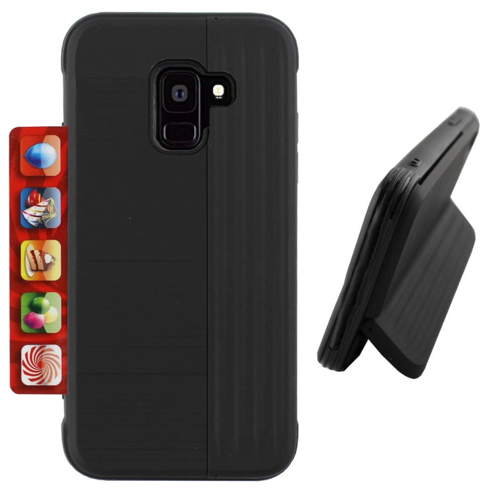 Colorfone Hoesje Card Stand Samsung A6 Plus 2018 Zwart