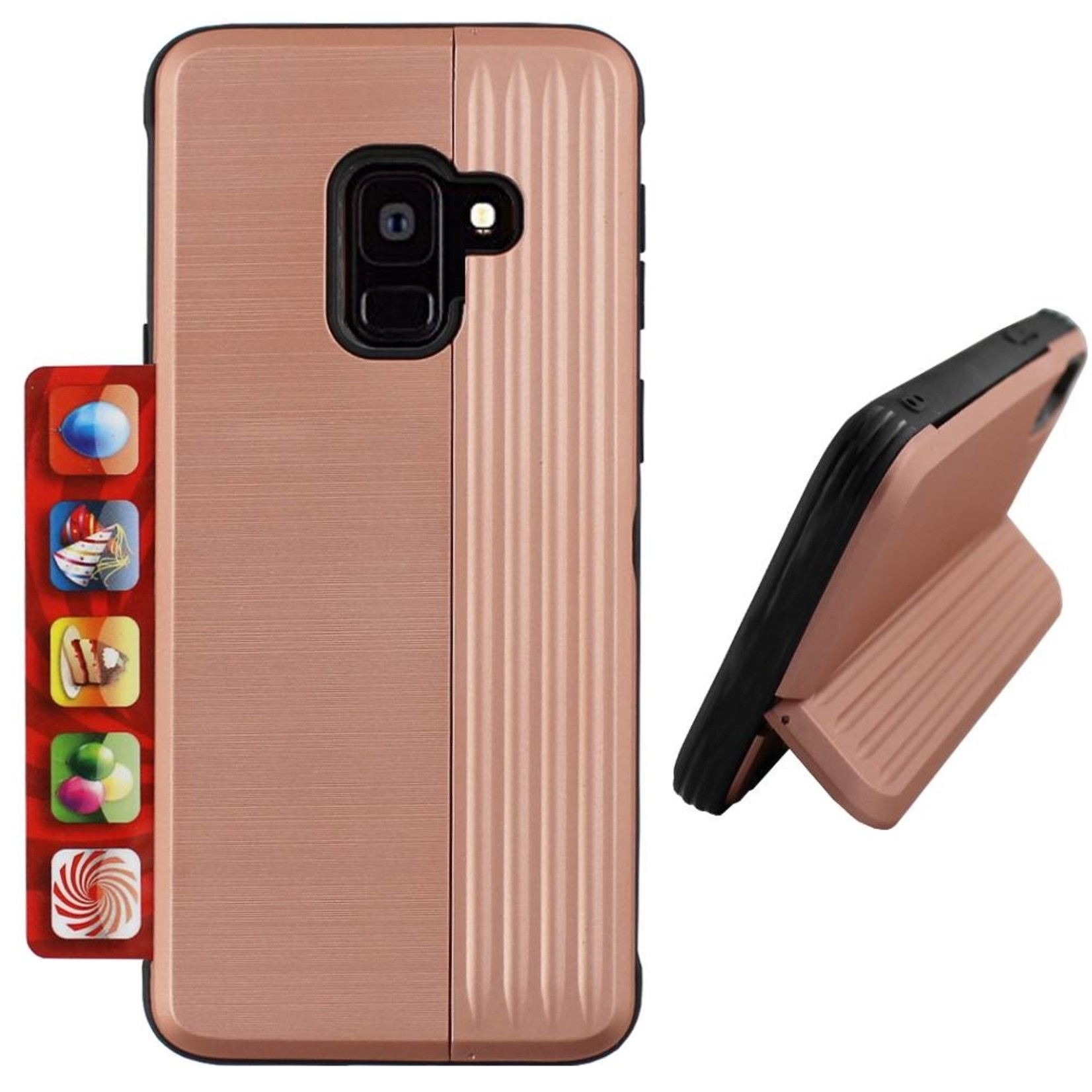 Colorfone Hoesje Card Stand Samsung J6 2018 Rose Goud