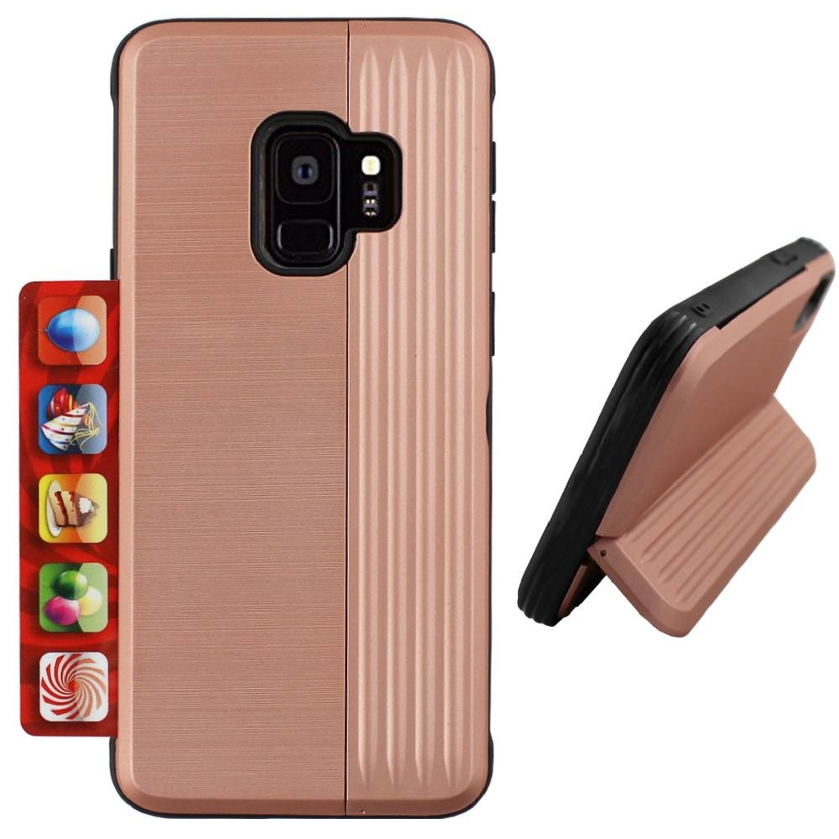 Colorfone Hoesje Card Stand Samsung S9 Plus Rose Goud