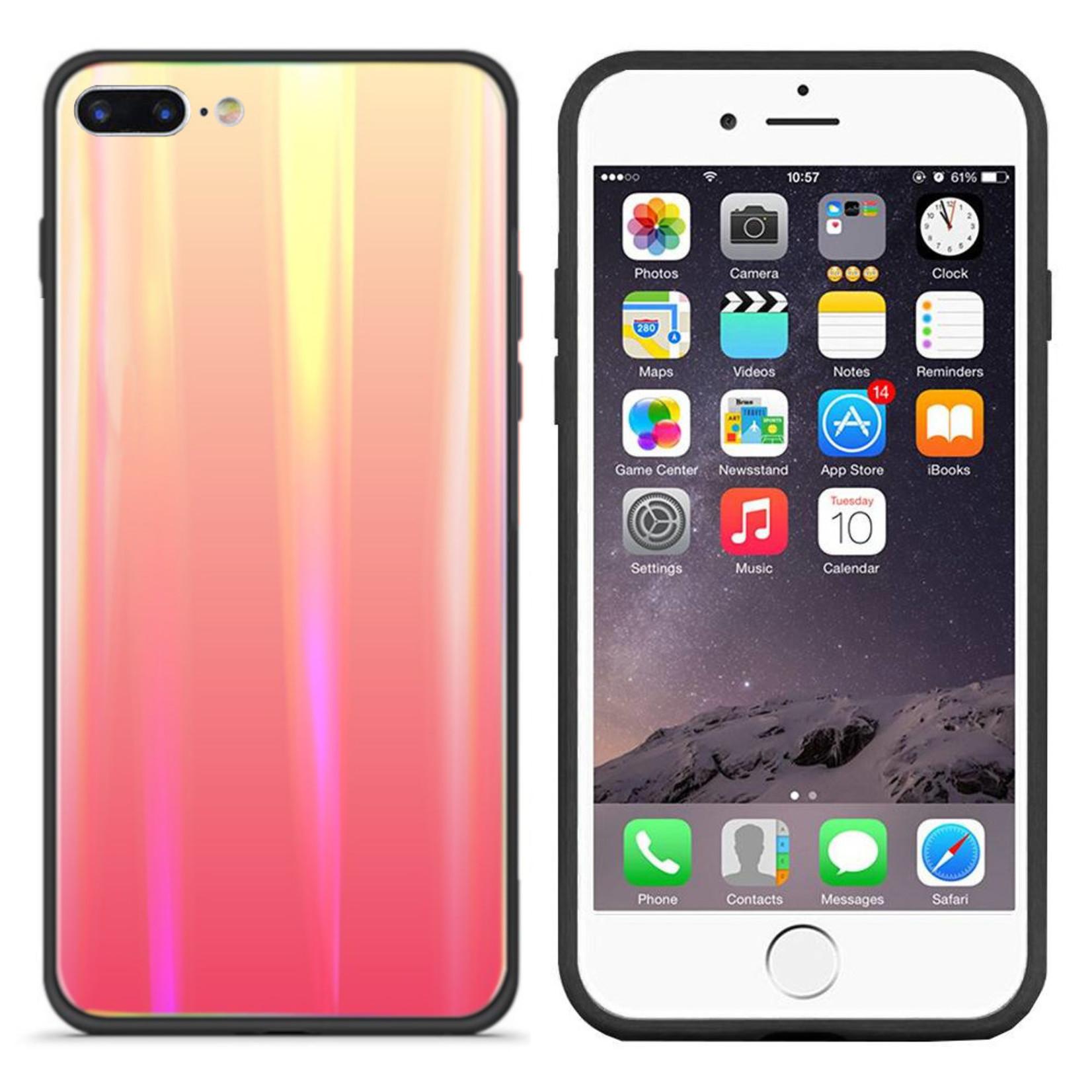 Colorfone BackCover Aurora Glass voor Apple iPhone 8 Plus/7 Plus Oranje