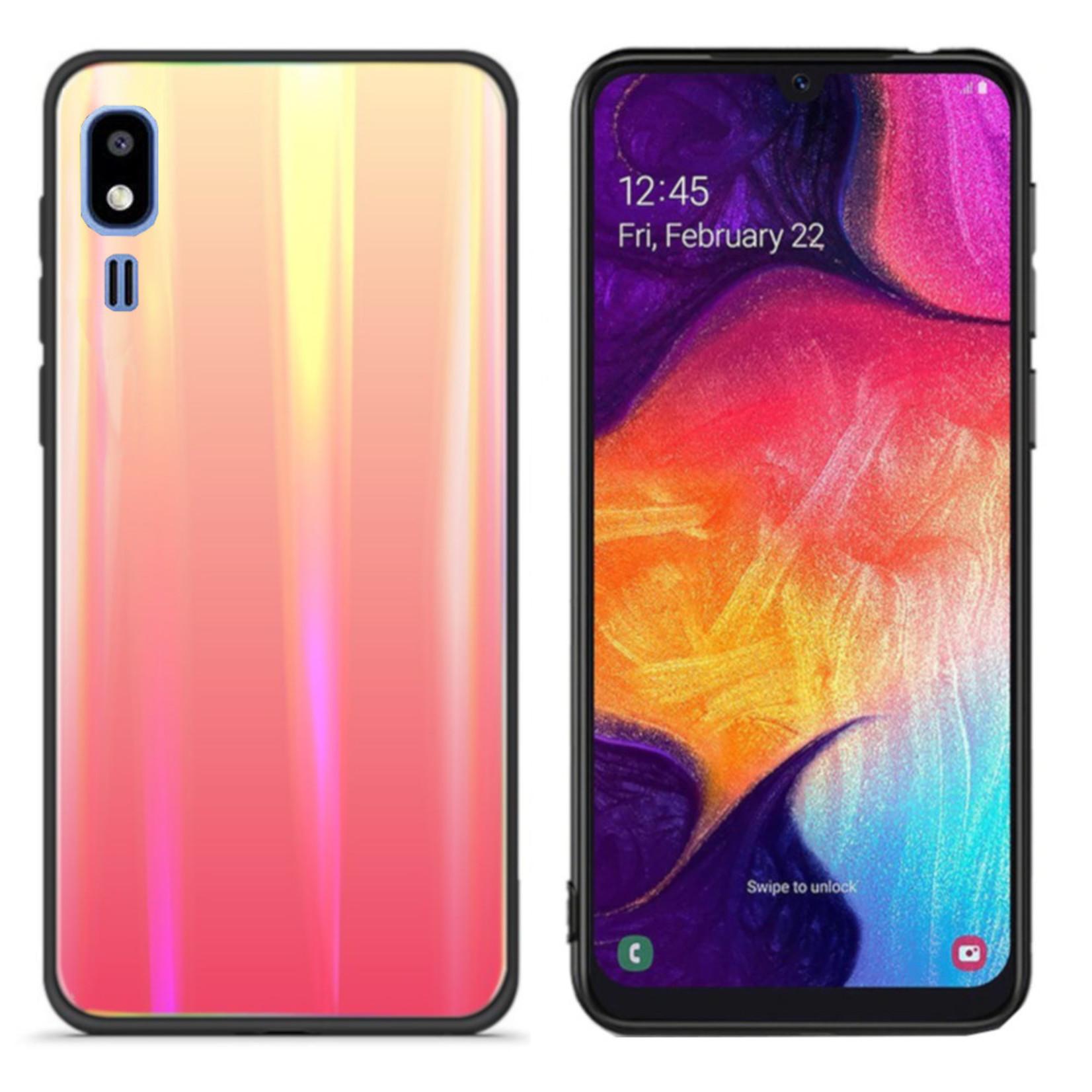 Colorfone BackCover Aurora Glass voor Samsung A2 Core Oranje