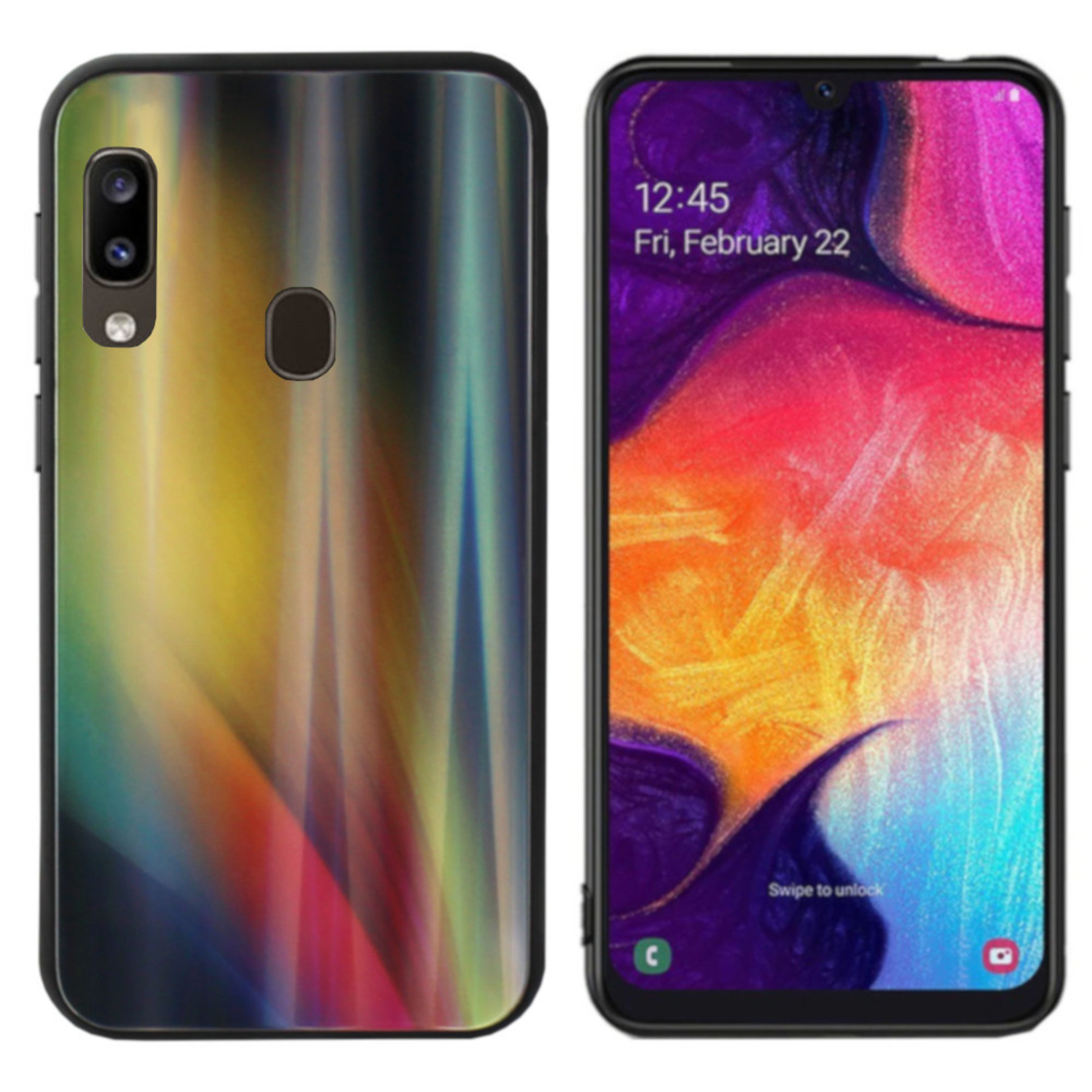 Colorfone BackCover Aurora Glass voor Samsung A20E Geel