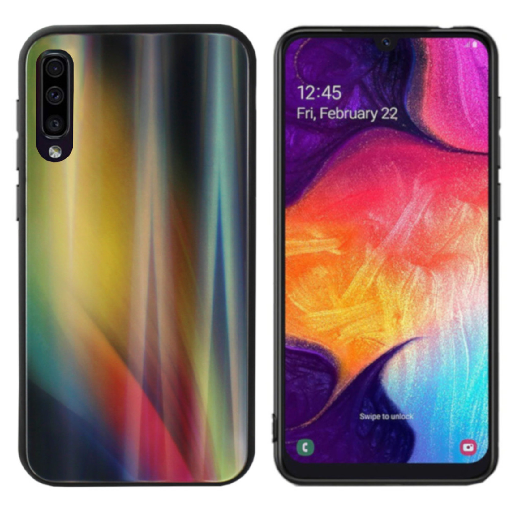 Colorfone BackCover Aurora Glass voor Samsung A50 Geel