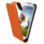 Suncia Leather1 i9500 Galaxy S4 Klassiek Oranje