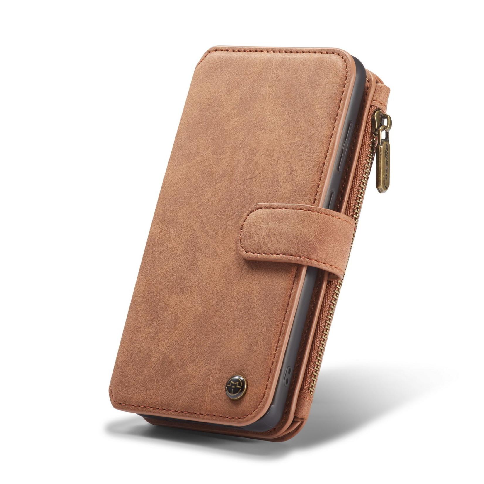 CaseMe 2 in 1 Zipper Wallet voor Samsung S20 Plus Bruin