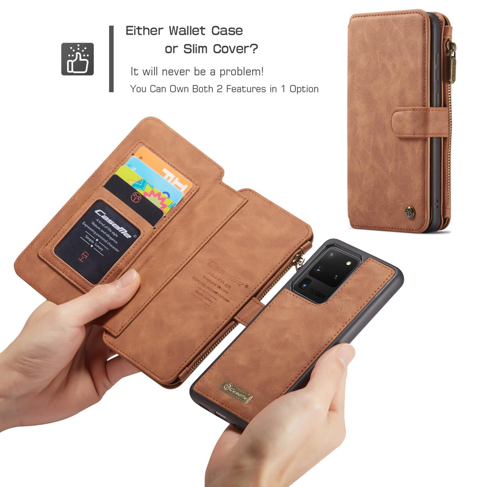 CaseMe 2 in 1 Zipper Wallet voor Samsung S20 Ultra Bruin