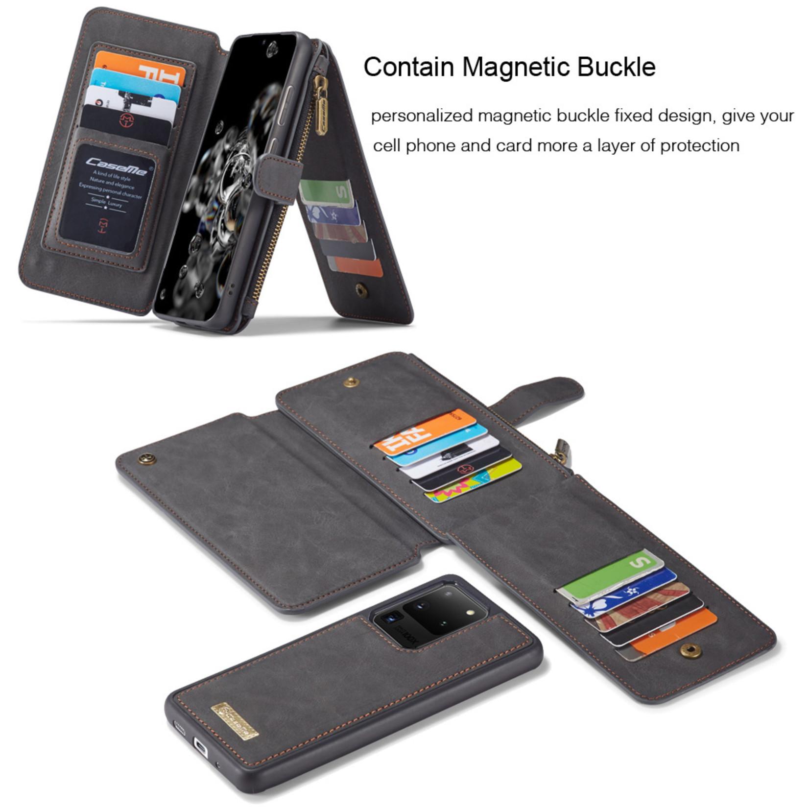 CaseMe 2 in 1 Zipper Wallet voor Samsung S20 Ultra Zwart