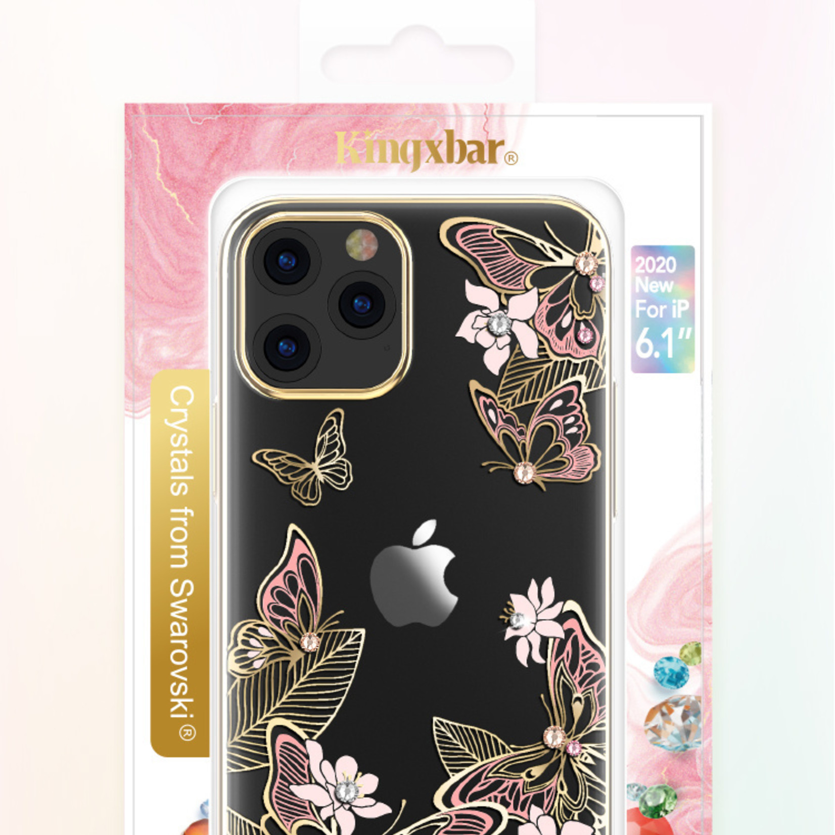 Butterfly BackCover iPhone 12/12 Pro 6.1'' Roze