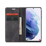 CaseMe Retro Wallet Slim voor S21 Zwart