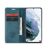 CaseMe Retro Wallet Slim voor S21 Plus Blauw