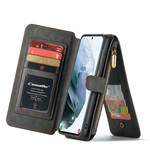 CaseMe 2 in 1 Zipper Wallet voor S21 Zwart