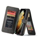 CaseMe 2 in 1 Zipper Wallet voor S21 Ultra Zwart