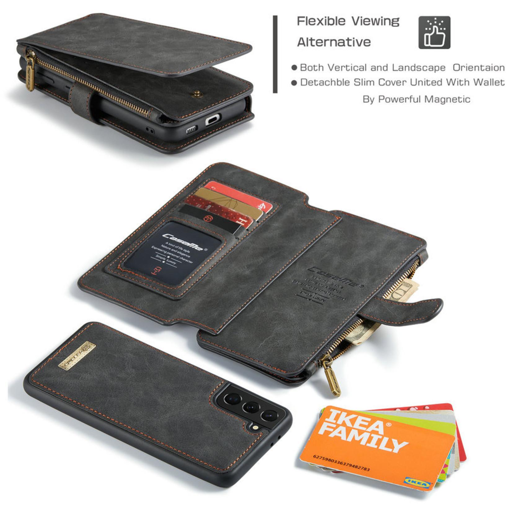 CaseMe 2 in 1 Zipper Wallet voor Samsung S21 Ultra Zwart