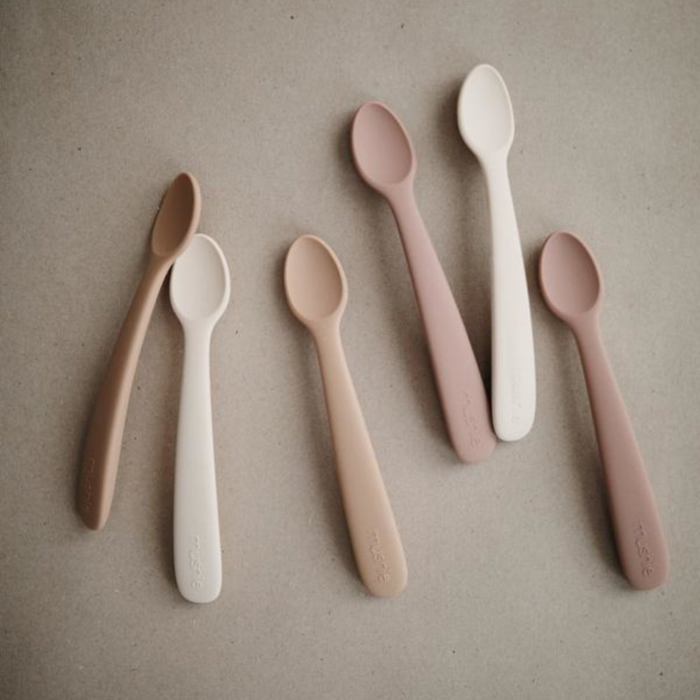 SILICONE BABY SPOON - BLUSH/SHIFTING SAND