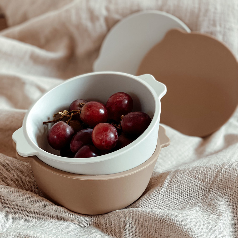 SILICONE BOWL 2-PACK | BROWN/FEATHER GREY