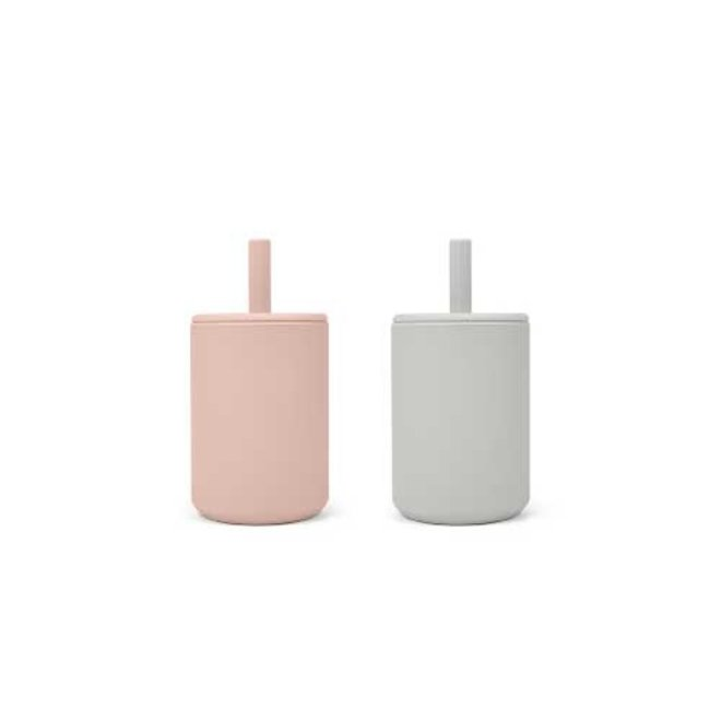 CUP WITH STRAW 2-PACK   ROSE/FEATHER GREY