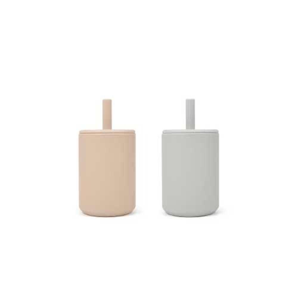 CUP WITH STRAW 2-PACK | BROWN/FEATHER GREY