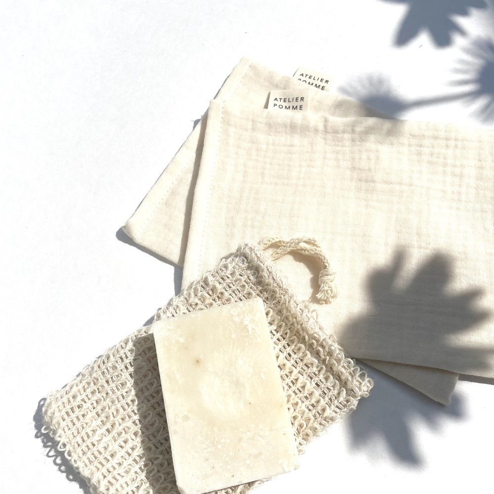 DIRTY CHEEKS - SET OF 2 WASH CLOTH - COSY WHITE