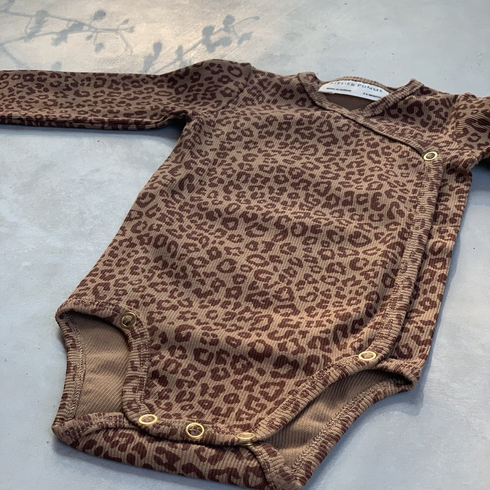 ROMPER WRAP THE BABY - LEOPARD  FINE BROWN/CHERRY RED