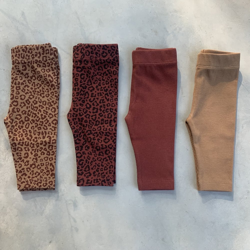TINY LEGGING HAPPY PANTS - LEOPARD FINE BROWN/CHERRY RED