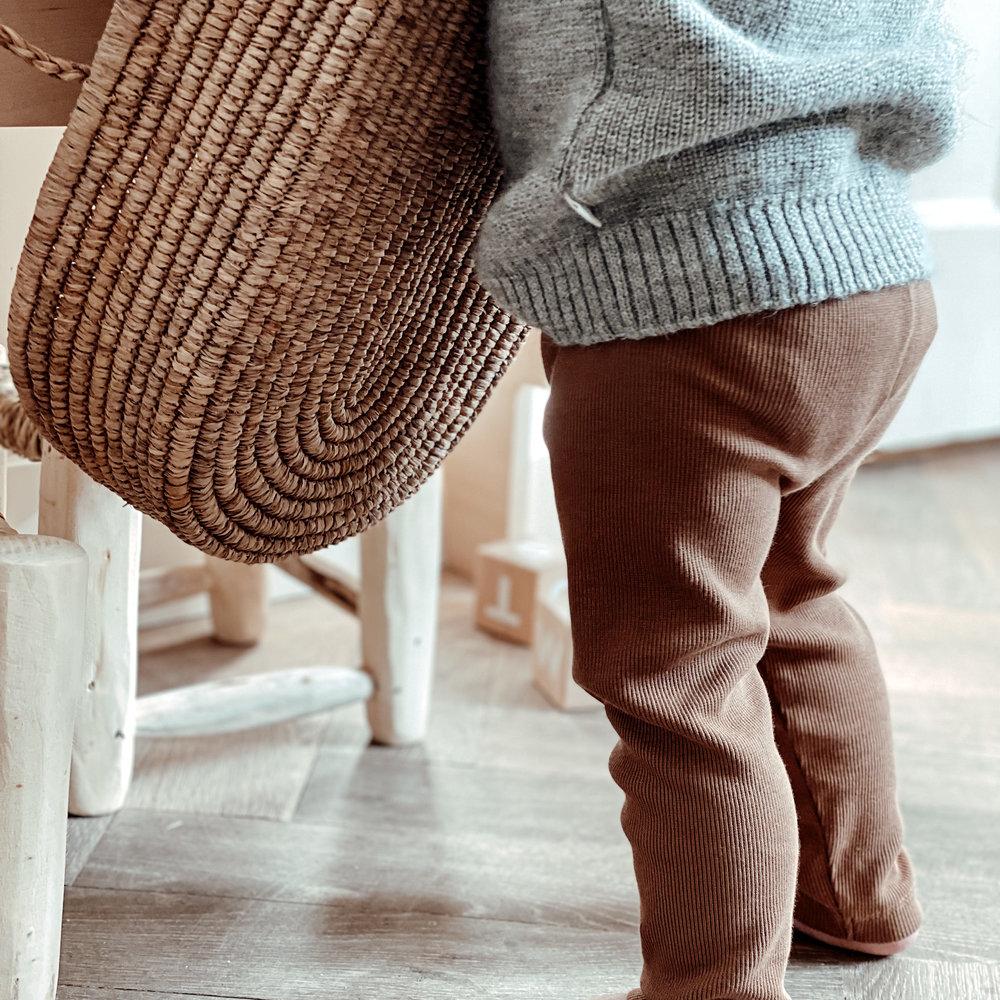 TINY LEGGING HAPPY PANTS - FINE BROWN