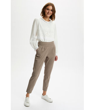 Cream AnettCR Pants - Taupe Gray Check