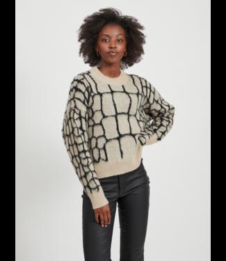 Object OBJMELANIE Knit Pullover - Sandshell AOP Animal