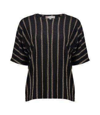 Geisha Top Striped - Black/Sand Combi
