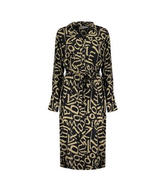 Geisha Dress AOP Letters with Strap - Black/Camel Combi