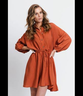 Rut&Circle Melissa Drawstring Dress -Rust