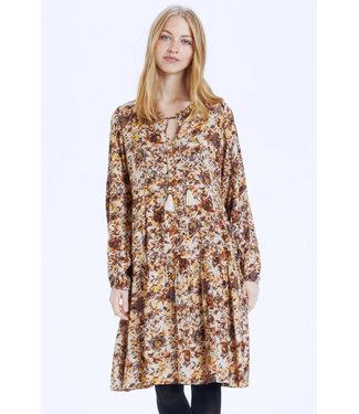 Cream AugustaCR Dress - Brown Fall Leafs AOP