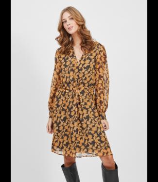 Object OBJSILJE Dress  - Black AOP Honey Ginger