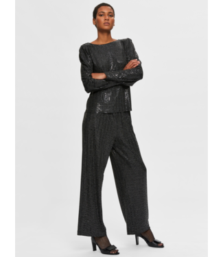 Selected Femme SLFSANDRA Wide Pant - Black AOP Silver